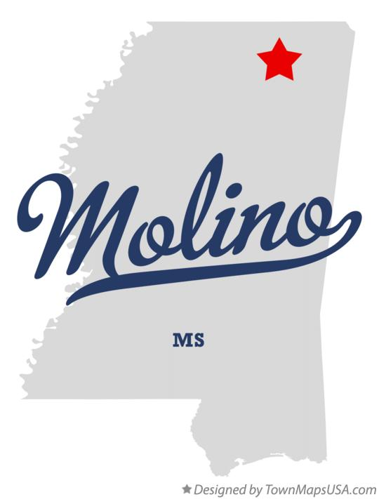 Map of Molino Mississippi MS