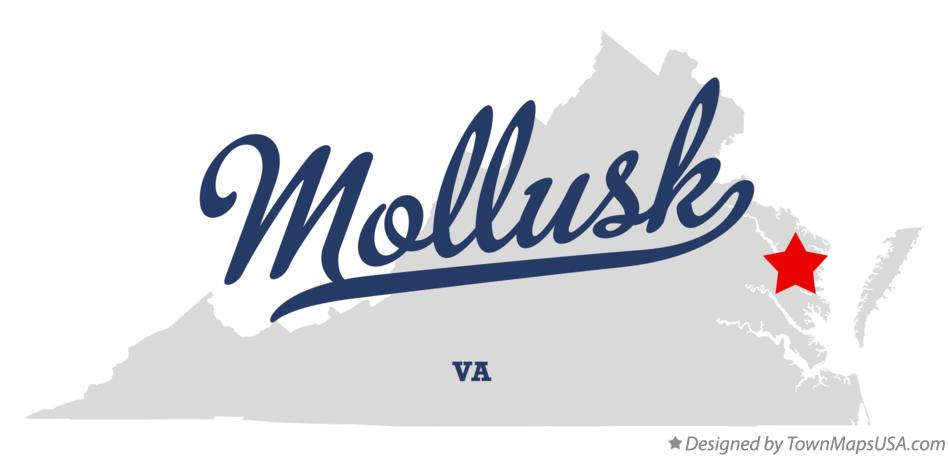Map of Mollusk Virginia VA