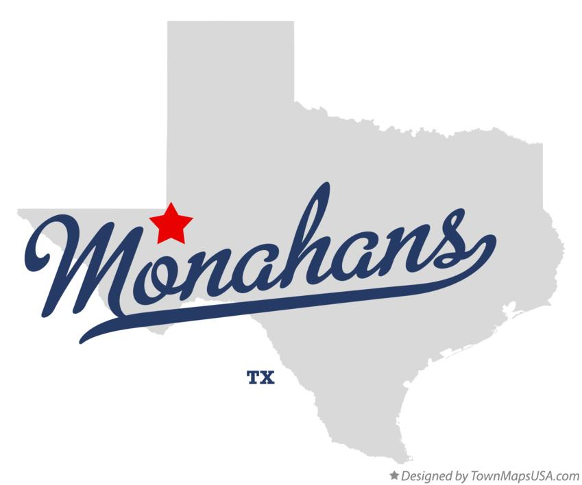 Map of Monahans Texas TX