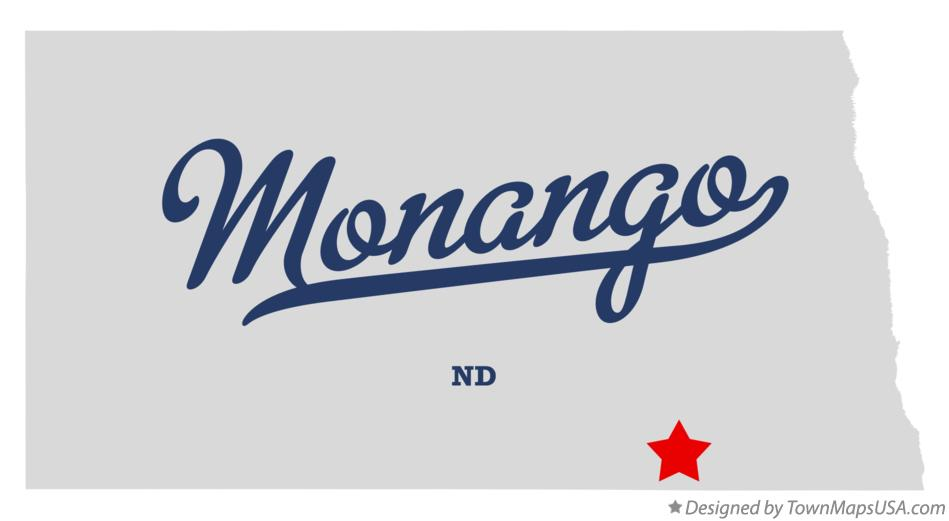 Map of Monango North Dakota ND