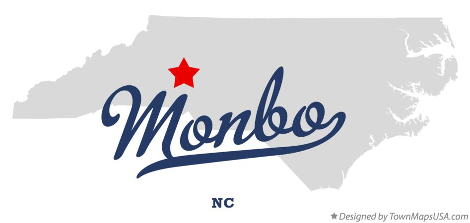 Map of Monbo North Carolina NC