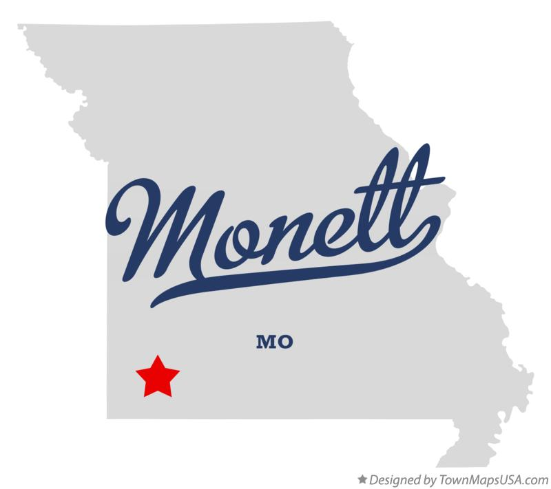 Map of Monett Missouri MO