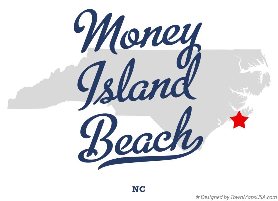 Map of Money Island Beach North Carolina NC