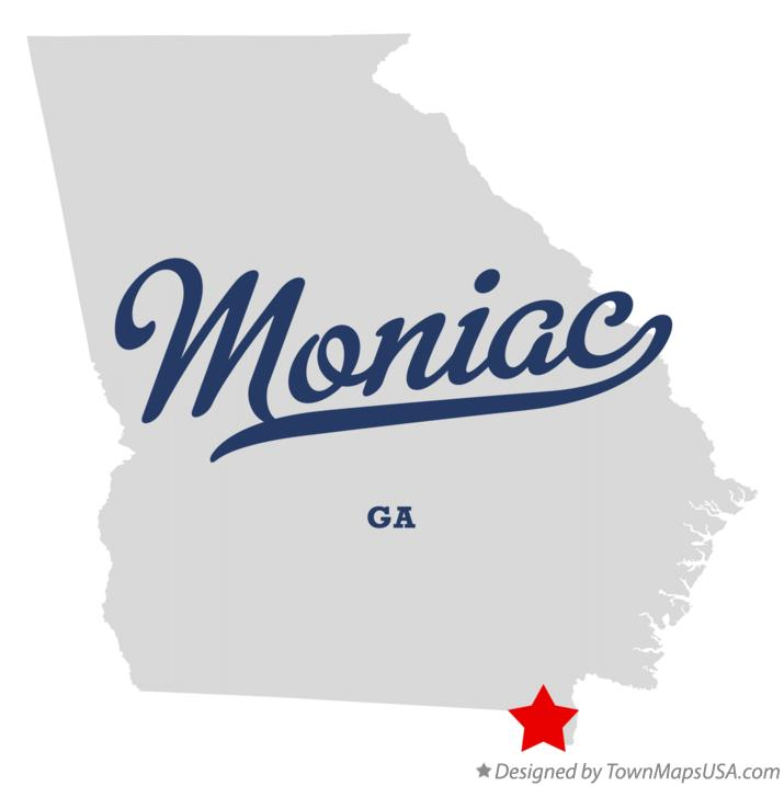 Map of Moniac Georgia GA