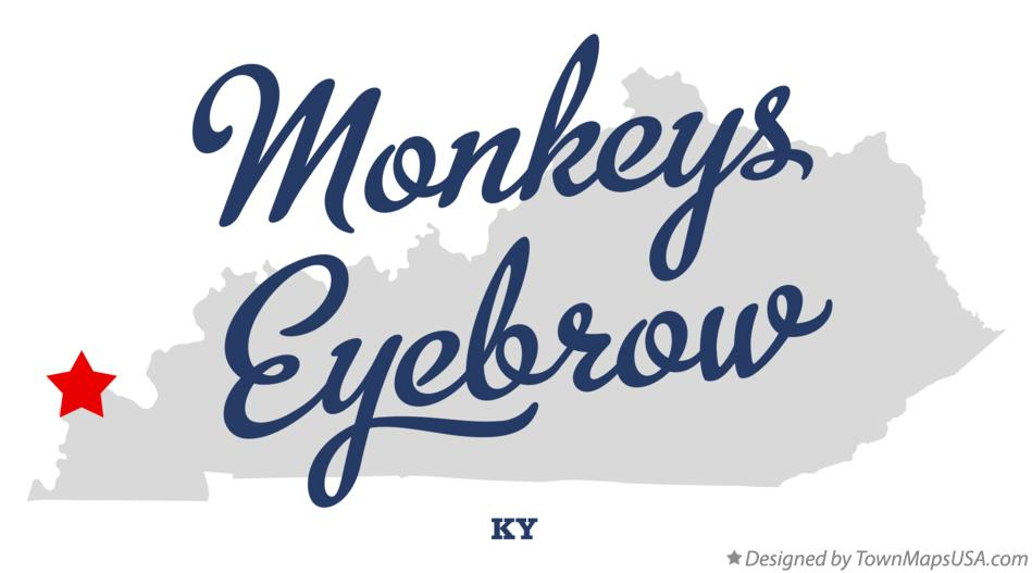 Map of Monkeys Eyebrow Kentucky KY