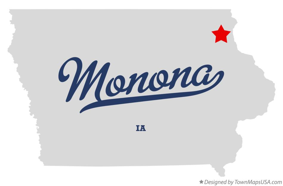 Map of Monona Iowa IA