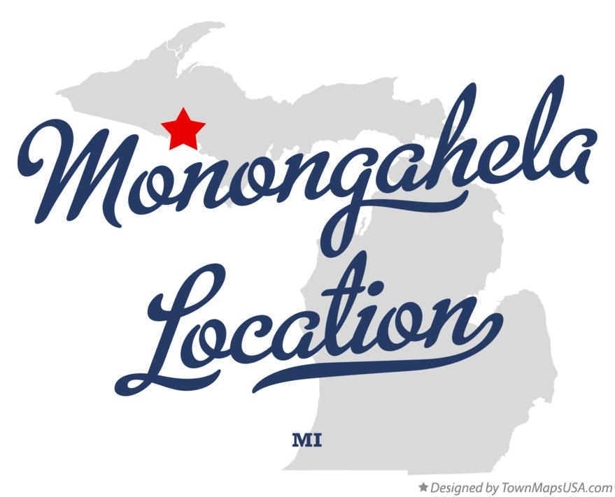 Map of Monongahela Location Michigan MI