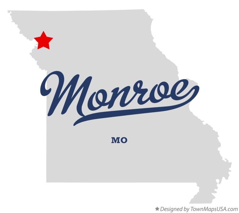 Map of Monroe Missouri MO