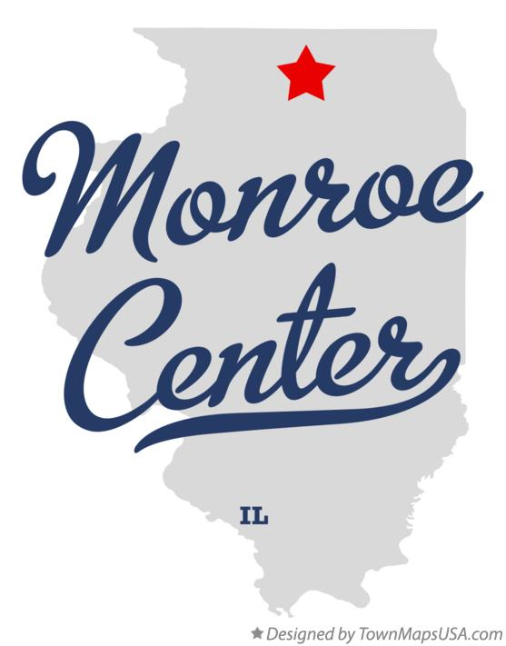 Map of Monroe Center Illinois IL