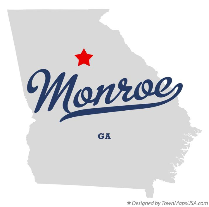 Map of Monroe Georgia GA