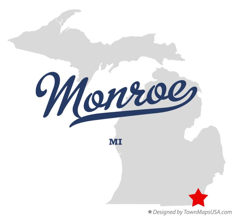 Map of Monroe Michigan MI