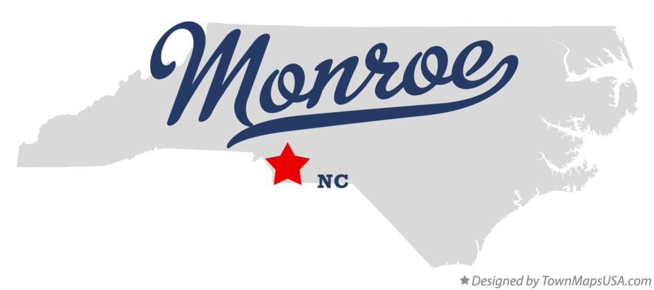 Map of Monroe North Carolina NC