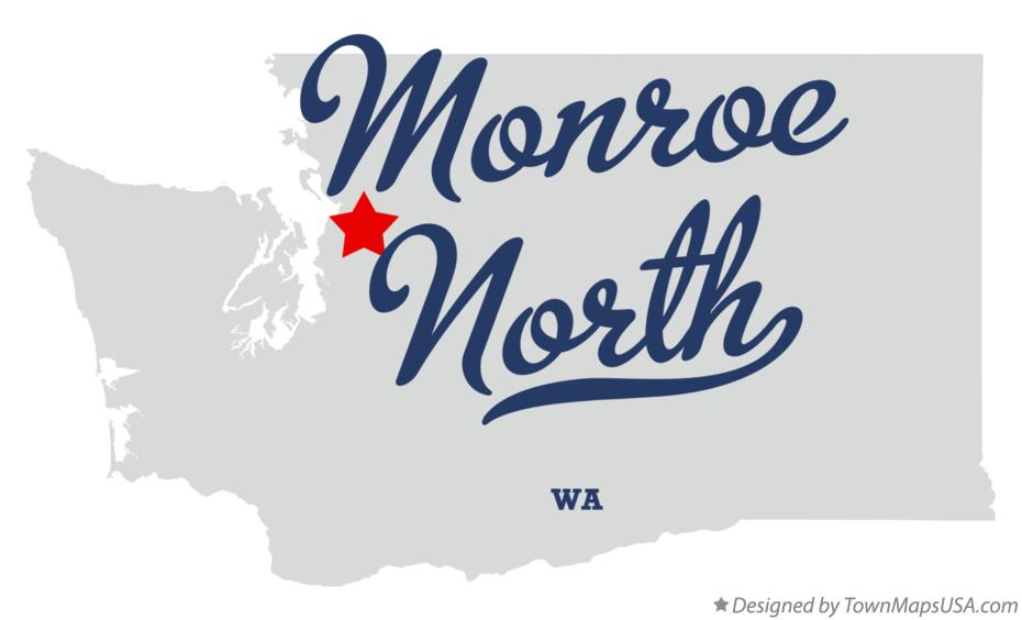 Map of Monroe North Washington WA