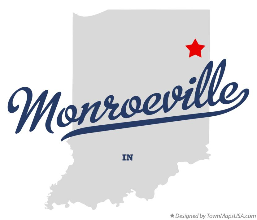 Map of Monroeville Indiana IN