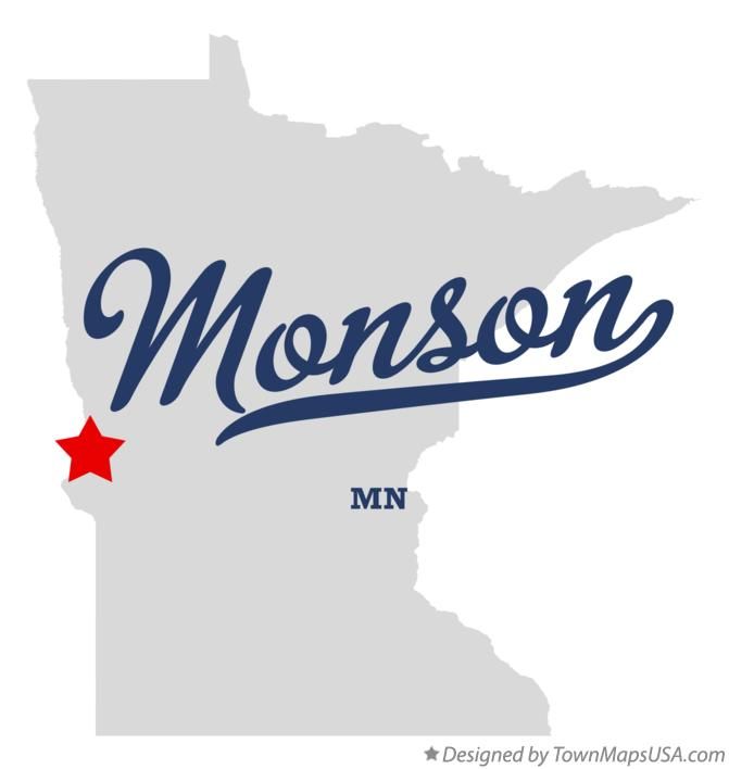 Map of Monson Minnesota MN