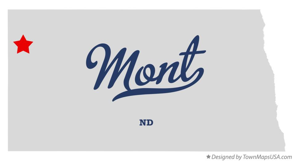Map of Mont North Dakota ND