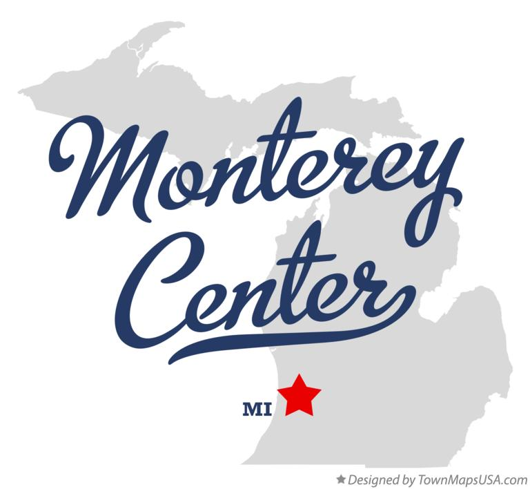 Map of Monterey Center Michigan MI