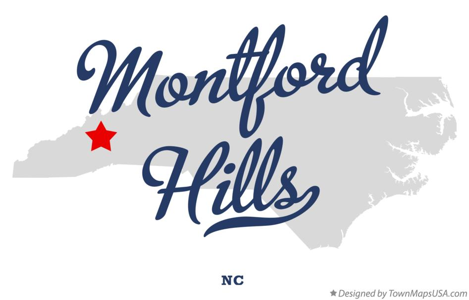 Map of Montford Hills North Carolina NC