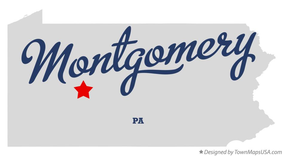 Map of Montgomery Pennsylvania PA