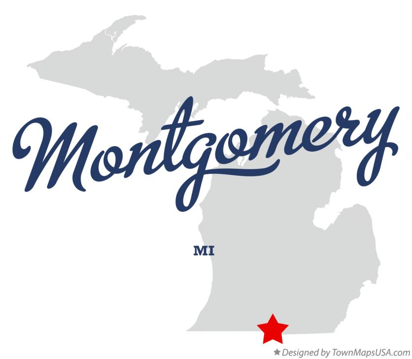 Map of Montgomery Michigan MI