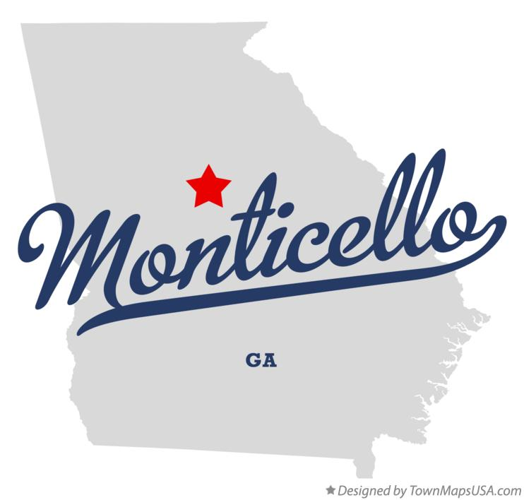 Map of Monticello Georgia GA