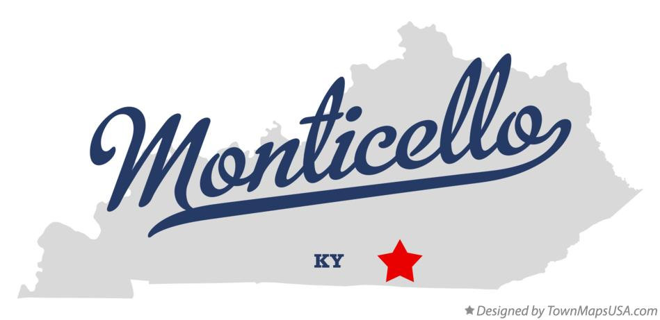 Map of Monticello Kentucky KY