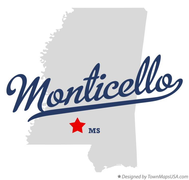 Map of Monticello Mississippi MS