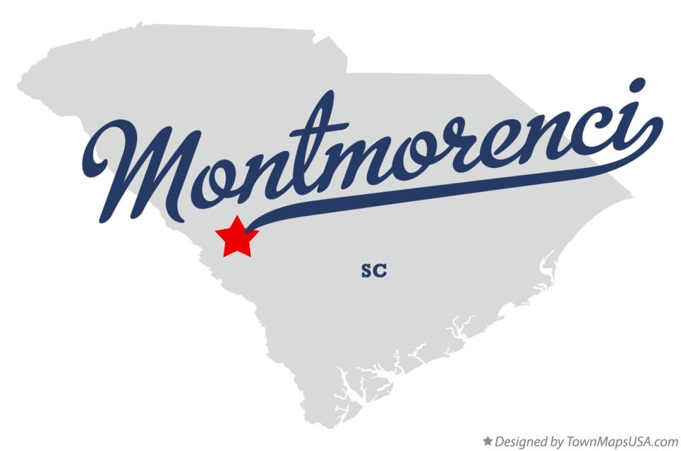 Map of Montmorenci South Carolina SC