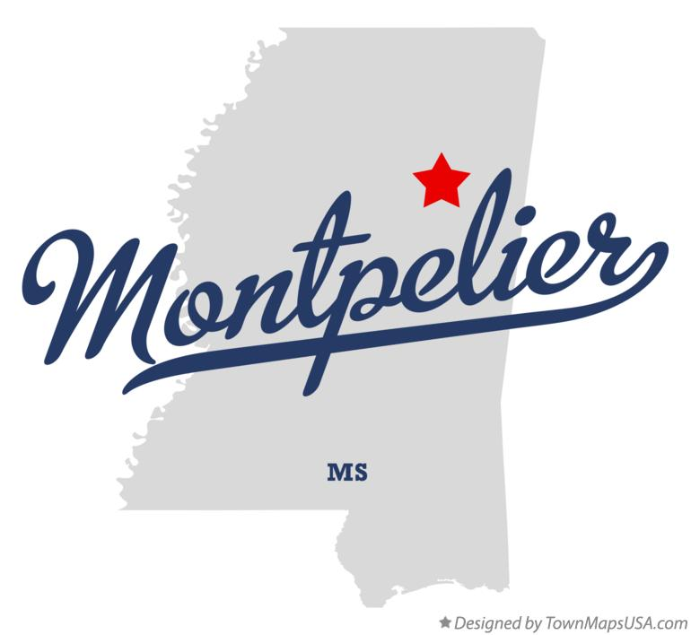 Map of Montpelier Mississippi MS