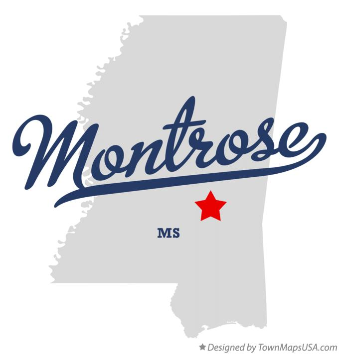 Map of Montrose Mississippi MS