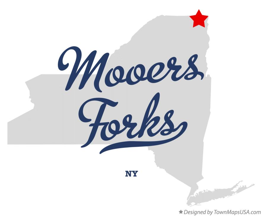Map of Mooers Forks New York NY