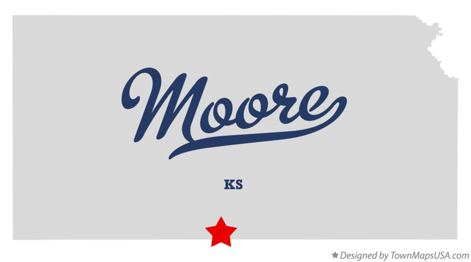 Map of Moore Kansas KS