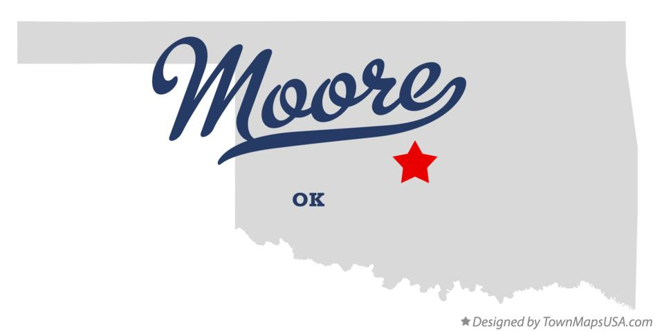 Map of Moore Oklahoma OK