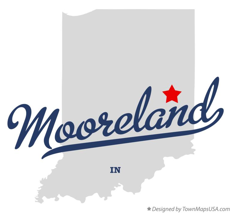 Map of Mooreland Indiana IN