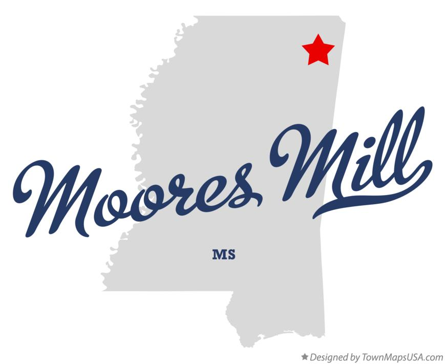 Map of Moores Mill Mississippi MS