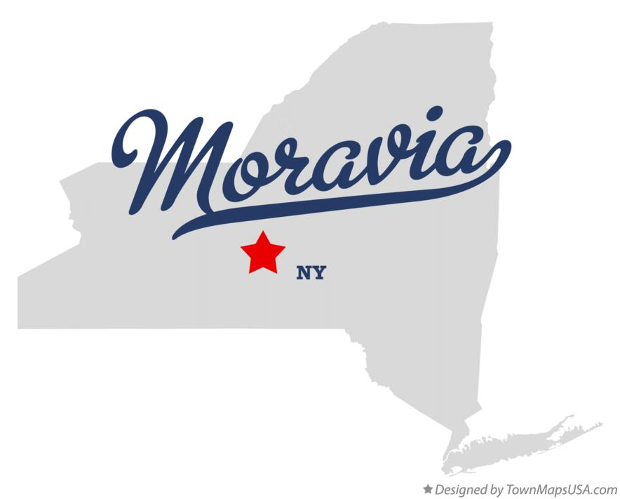 Map of Moravia New York NY