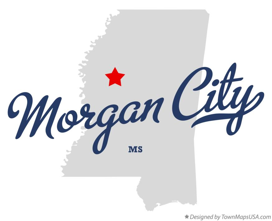 Map of Morgan City Mississippi MS