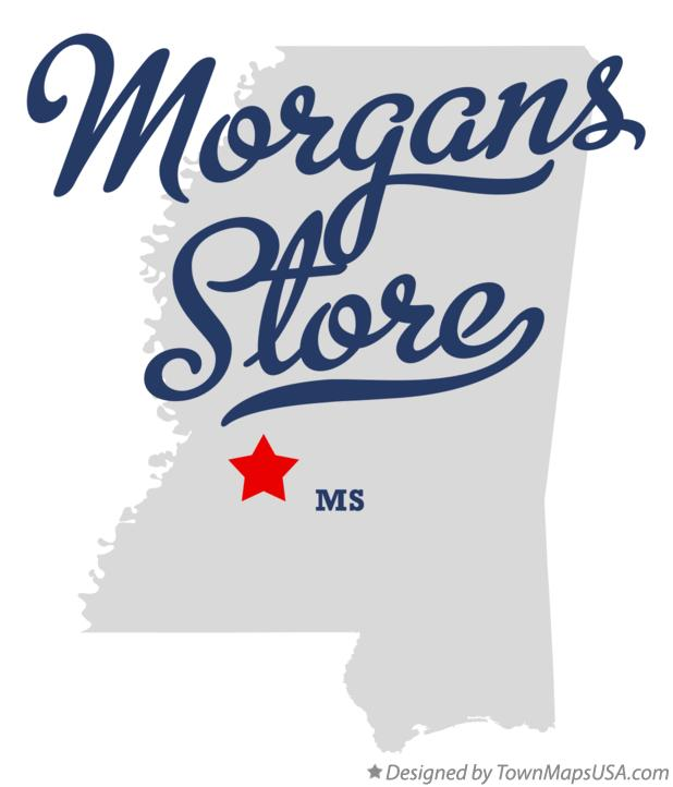 Map of Morgans Store Mississippi MS