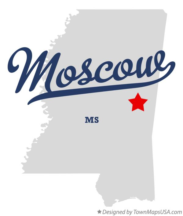 Map of Moscow Mississippi MS