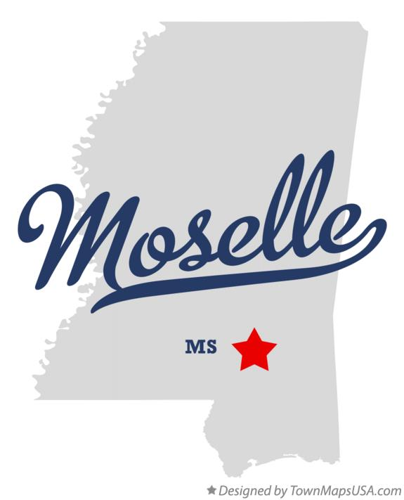 Map of Moselle Mississippi MS