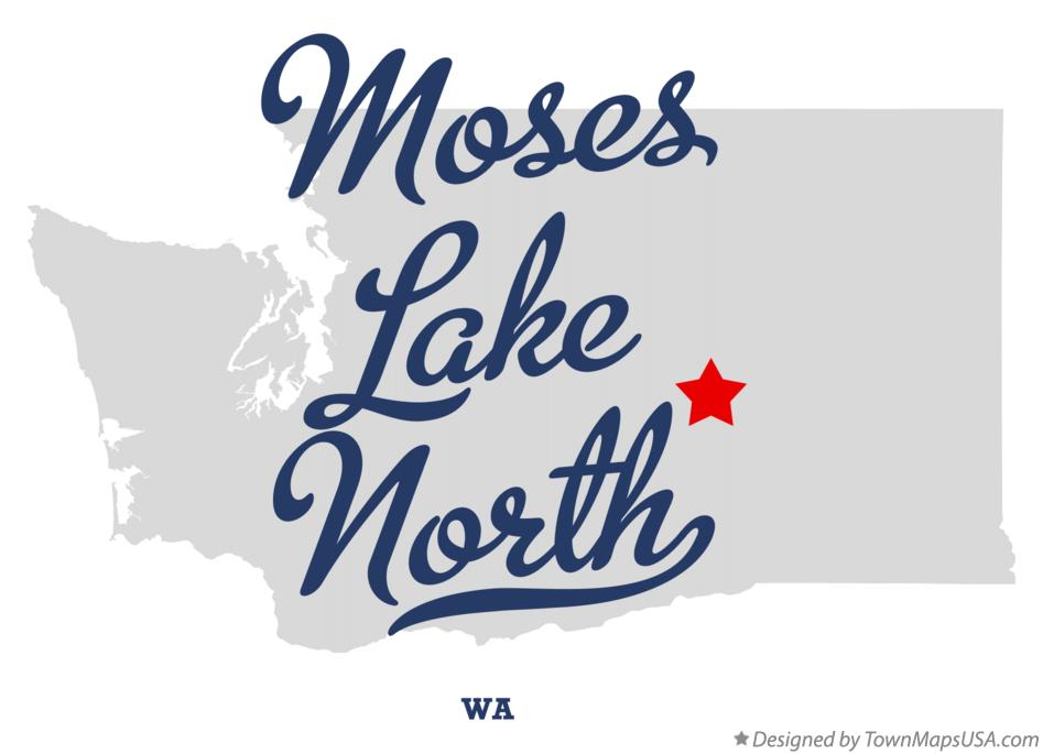 Map of Moses Lake North Washington WA