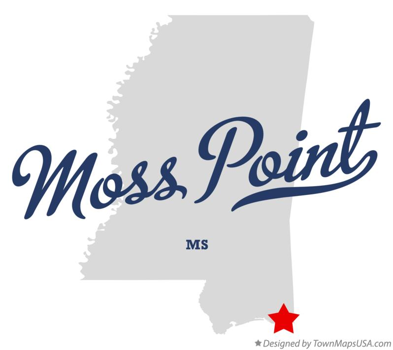 Map of Moss Point Mississippi MS