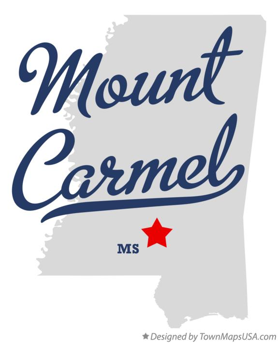 Map of Mount Carmel Mississippi MS