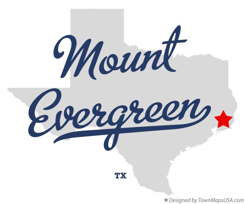 Map of Mount Evergreen Texas TX