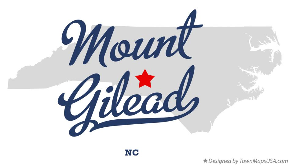 Map of Mount Gilead North Carolina NC