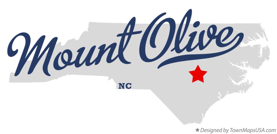 Map of Mount Olive North Carolina NC