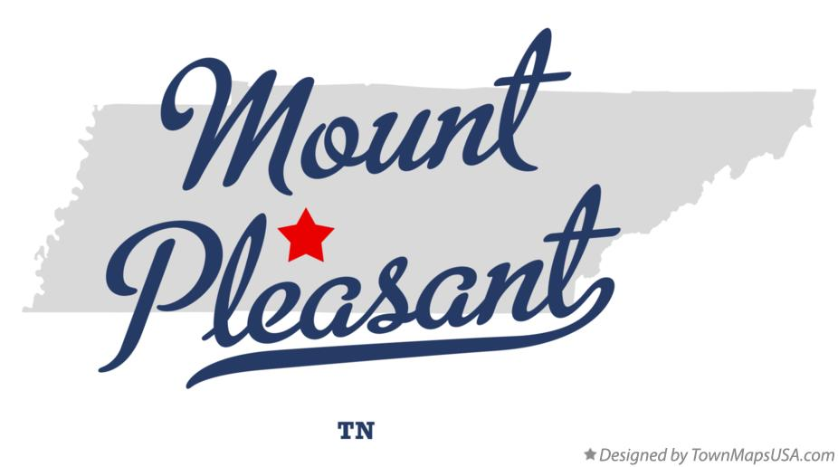Map of Mount Pleasant Tennessee TN