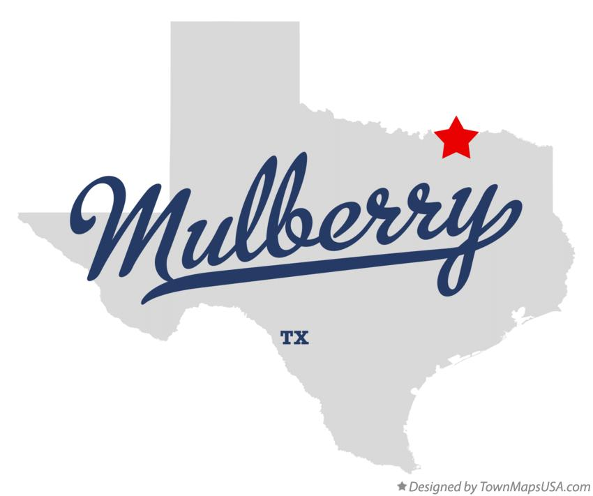 Map of Mulberry Texas TX