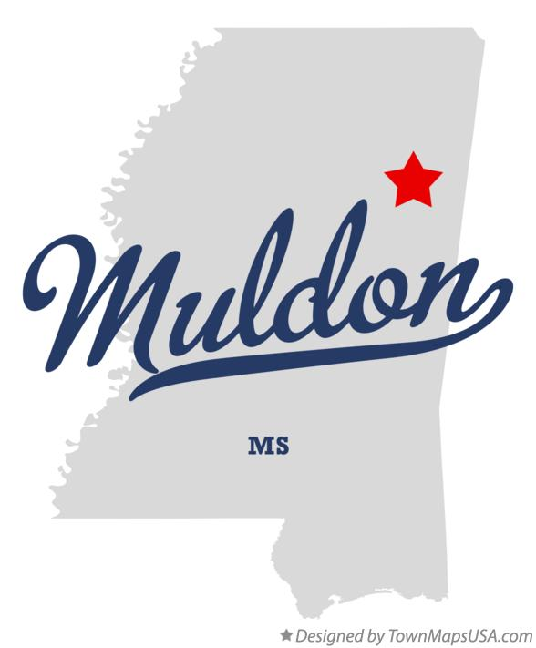 Map of Muldon Mississippi MS