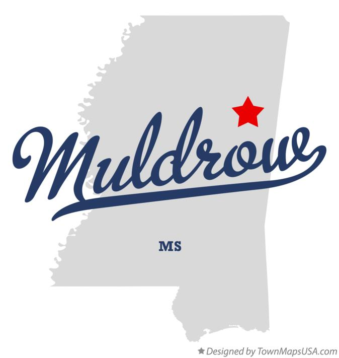 Map of Muldrow Mississippi MS